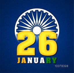 Glossy text 26 January in National Flag colours on Ashoka Wheel decorated blue background for Happy Republic Day celebration.