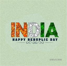 Creative abstract National Tricolours text India on grungy background for Happy Republic Day celebration.