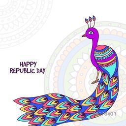 Illustration of Indian National Bird Peacock on floral decorated background for Happy Republic Day celebration.