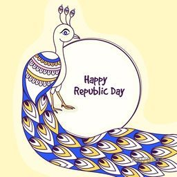 Creative illustration of Indian National Bird Peacock for Happy Republic Day celebration.