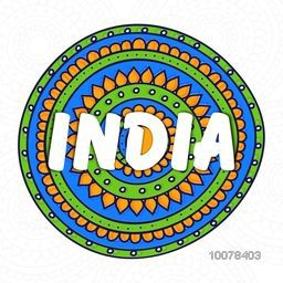 Happy Republic Day celebration with stylish text India on National Flag colours, floral design decorated background.