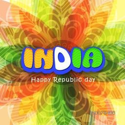 Floral design decorated greeting card with National Flag colours text India for Happy Republic Day celebration.