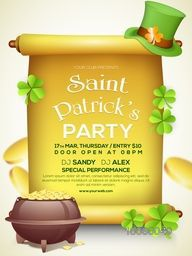 Flyer, Banner or Pamphlet with glossy golden scroll paper, gold coins pot, Shamrock leaves and hat for Happy St. Patrick's Day celebration.