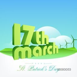 3D glossy text 17th March on beautiful cloudy nature background for Happy St. Patrick's Day celebration.