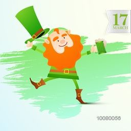 Happy Leprechaun holding beer mug, dancing and enjoying on occasion of St. Patrick's Day.