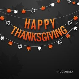 Stylish hanging text Happy Thanksgiving with maple leaves, Elegant greeting card design.
