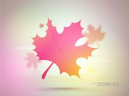 Glossy Maple Leaf decorated background for Happy Thanksgiving Day celebration.