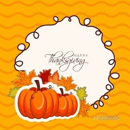 Elegant greeting card design with pumpkins and maple leaves for Happy Thanksgiving Day celebration.