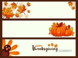 Website header or banner set with maple leaves, turkey bird and pumpkins, Creative vector illustration for Happy Thanksgiving Day celebration.