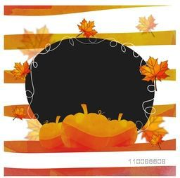 Elegant greeting card with space for text, Creative background with pumpkins and maple leaves for Happy Thanksgiving Day celebration.