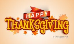 Stylish text Happy Thanksgiving with glossy ribbon on maple leaves decorated background, Can be used as Poster, Banner or Flyer design.