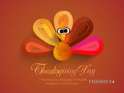 Creative Turkey Bird made by brush strokes, Elegant greeting card design for Happy Thanksgiving Day celebration.