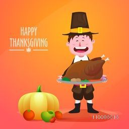 Funny pilgrim boy holding roasted chicken for Happy Thanksgiving Day celebration.