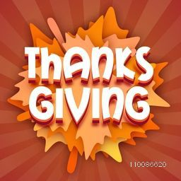 3D text Thanks Giving on creative abstract background.