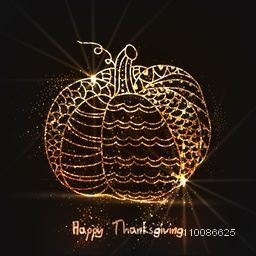 Golden pumpkin for Happy Thanksgiving Day celebration.