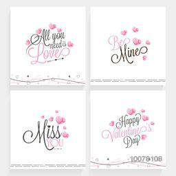 Set of elegant greeting cards with different typographic collection for Happy Valentine's Day celebration.