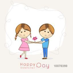 Cute couple with flower for Happy Valentine's Day celebration.