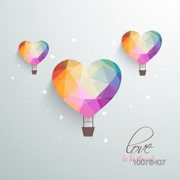 Love is in the Air, Creative hot air balloons in colorful origami heart shape for Happy Valentine's Day celebration.