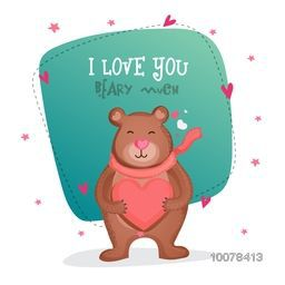 Cute bear holding pink heart for his beloved on occasion of Happy Valentine's Day celebration.