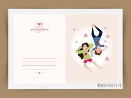 Elegant greeting card design with young couple listening music for Happy Valentine's Day celebration.