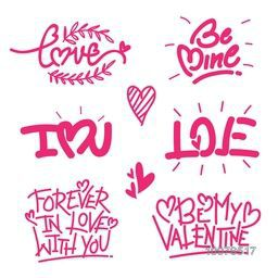Creative pink typographic collection for Happy Valentine's Day celebration.