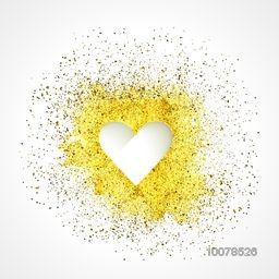 Creative glossy heart on glitter background for Happy Valentine's Day and Love Season celebration.