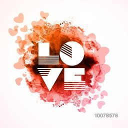 Stylish text Love on color splash and hearts decorated abstract background for Happy Valentine's Day celebration.