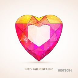 Creative colorful origami heart with glitter for Happy Valentine's Day celebration.