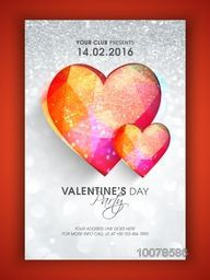 Creative Flyer, Banner or Pamphlet design with colorful hearts on silver glitter background for Valentine's Day Party celebration.