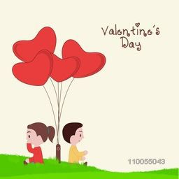 Cute kids thinking about Valentine's Day with heart shape balloons on nature view background.