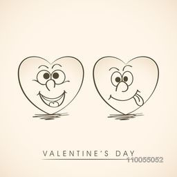 Funny smiling hearts for Happy Valentine's Day celebration.