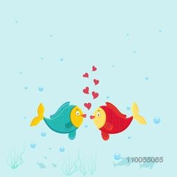 Cute fish couple in love on sky blue background for Valentine's Day celebrations.