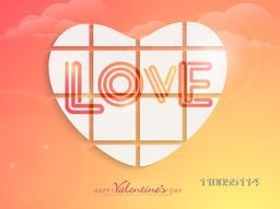 Creative heart with text Love on colorful romantic background for Happy Valentine's Day celebration.