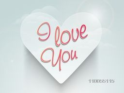 Heart with I Love You text on shiny cloudy background for Happy Valentine's Day celebration.