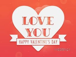 Sticker, label or tag with text Love You, Happy Valentine's Day celebration on romantic colorful background.
