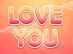 Colorful text Love You on shiny romantic evening background for Happy Valentine's Day celebration.