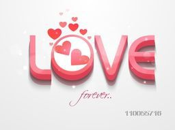 3D pink text Love Forever with hearts on grey background for Happy Valentine's Day celebrations.
