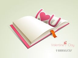 Blank open book for your wishes with pink paper text I Love You for Happy Valentine's Day celebration.