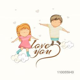 Cute little kids with text Love You on hearts decorated background for Happy Valentines Day celebration.