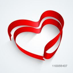 Creative heart shape made by glossy red ribbon on grey background for Happy Valentines Day celebration.