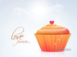 Delicious cup cake with red heart and text Love Forever for Happy Valentine's Day celebration on shiny cloudy sky background.