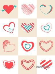 Collection of different hearts shape for Happy Valentine's Day celebration.
