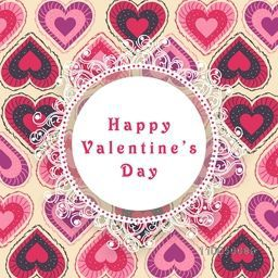 Beautiful floral frame on seamless hearts decorated background for Happy Valentines Day celebration.