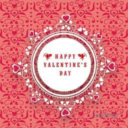 Happy Valentines Day celebration with beautiful floral decorated frame on seamless background.