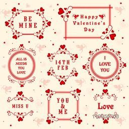 Beautiful typographic collection or frames for Happy Valentines Day celebration.