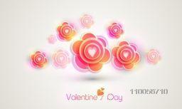 Happy Valentines Day celebration with beautiful flowers on grey background.