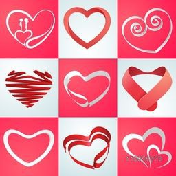 Collection of hearts in different shape with cute romantic couple for Happy Valentines Day celebration.