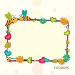 Colorful flowers and hearts decorated blank frame with cute bee couple in love for Happy Valentines Day celebration.