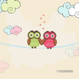 Cute owl couple in love holding hands together on colorful clouds background for Happy Valentine's Day celebrations.