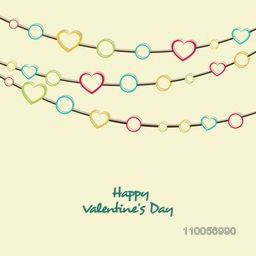 Elegant greeting card design with colorful hearts and circle decoration for Happy Valentine's Day celebrations.